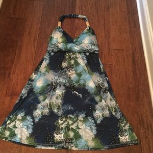NWOT Women's Halter Green & Blue Sundress