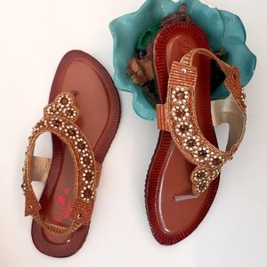 Shoes - Brown Rhinestones Embellished Shoes