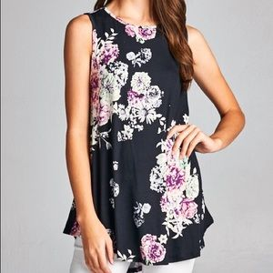 Pink Peplum Boutique Tops - 🆕 Black sleeveless floral print Boho top