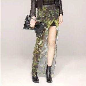 Helmut Lang Green Lizard Print Skirt size L