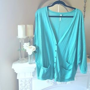 Margaret O'Leary Sweaters - MARGARET O'LEARY Teal Mesh Oversized Cardigan sz L