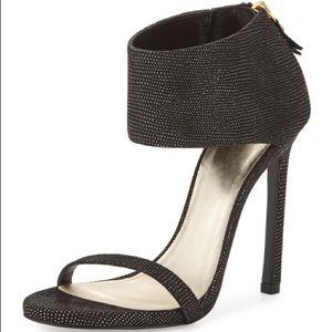 Stuart Weitzman showgirl black metallic heels