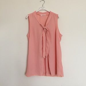 Anthropologie Tops - Poema peach pink tie neck sleeveless blouse Med