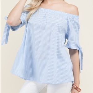 Tops - Light blue and white striped blouse