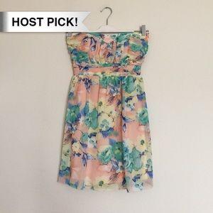 Trixxi Dresses & Skirts - *HP!* Pink blue yellow floral strapless mini dress