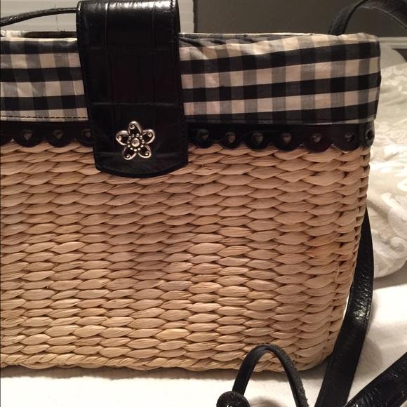 58e3597c0f9 Brighton black and white checkered straw purse