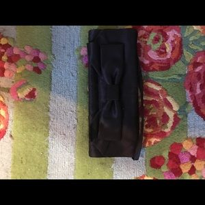 Hollywould black satin clutch purse with bow