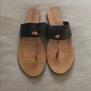 Sole Society Shoes - Sole Society Black and Tan Sandals