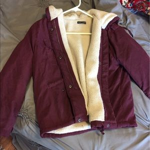 Brandy Melville Maroon Hailey Jacket with Fur