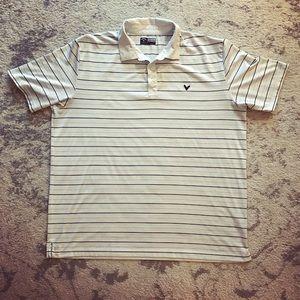 Callaway Other - White Men's striped Callaway Opti-Dri golf shirt