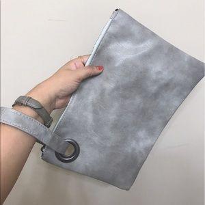 OTHER Handbags - GRAY LEATHER LIKE HAND PURSE