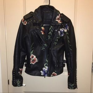 BLANKNYC Jackets & Blazers - BLANKNYC As You Wish Floral Embroidered Moto Jacke