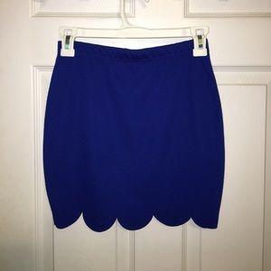 Cobalt Blue, Scallaped, Mini Skirt.