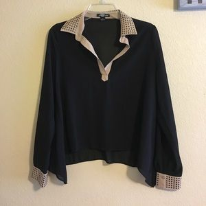 Audrey Ann Tops - Sheer blouse with gold studding accent