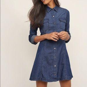 Chambray A-line Dress: Medium washed denim dress