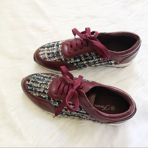 Shoes - NWOT Burgundy Sneakers with Patterned Sides