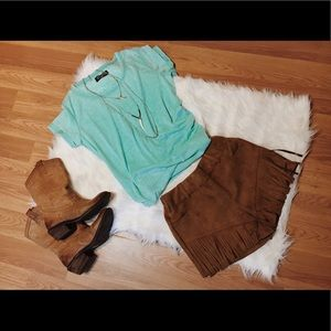Crazy Train Pants - Brown Suede Like Fringe Shorts