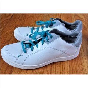 Ahnu Shoes - Ahnu Womens White Leather Tennis Shoes Sneakers 7