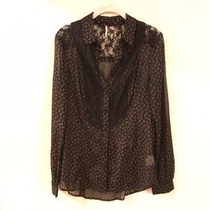 Free People Lace Floral Buttondown