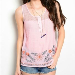 Pink floral embroidered tank