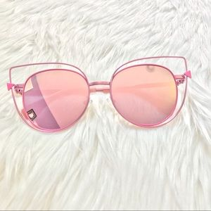 Accessories - Pink Mirrored Metal Cateye Frame Sunglasses