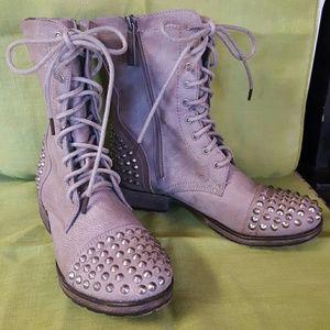 Breckelles Shoes - Distressed Rivet Boots