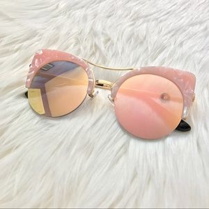 Accessories - Pink Marble Cateye Sunglasses with Mirrored Lens