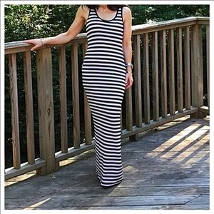 Classic Woman Dresses & Skirts - Classic Woman black & white striped tank maxi. NWT