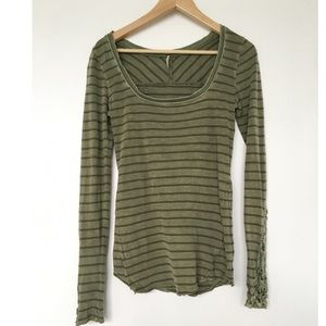 Olive Free People Henley with Lace Floral Cuffs