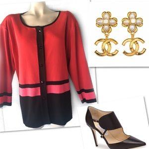 Misook Sweaters - MISOOK COLORBLOCK STRIPED TOP BLOUSE CARDIGAN 3X