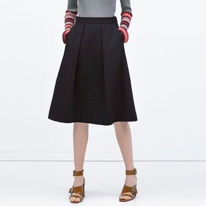 ZARA Midi Jacquard Skirt