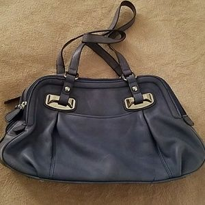Blue leather handbag B Makowsky