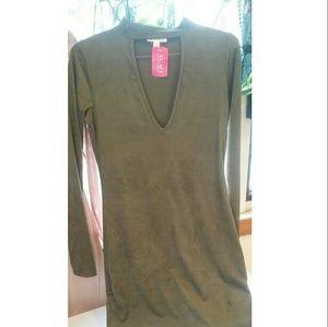 a'gaci Dresses & Skirts - Long sleeve olive suede dress. Agaci. Brand new.