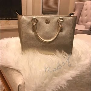 Tory burch Robinson Metallic Mini Square Tote