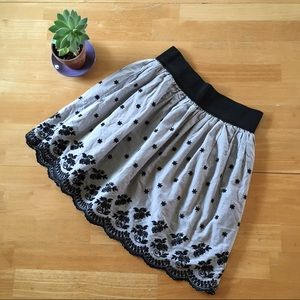 Rhapsody Mini Skirt Grey Flowers & Lace Pattern M