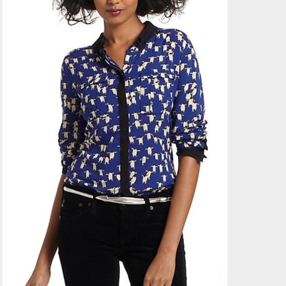 929ec6ed7 Anthropologie Tops   Maeve Button Down Penguin Print Shirt   Poshmark