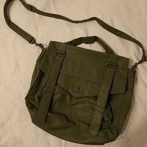 Faux green leather messenger bag