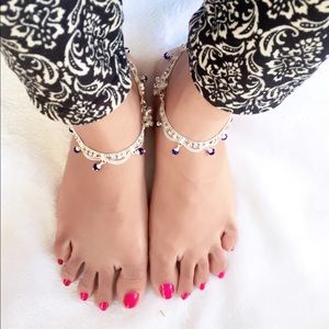 Jewelry - Silver and Blue anklets
