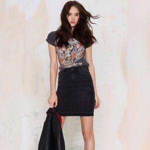 Faded Black Denim Pencil Skirt