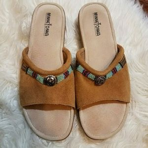 Minnetonka Shoes - MINNETONKA Tan Beaded Leather Suede Sandals