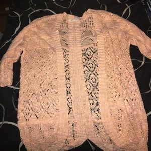 Pink Rose Sweaters - Sheer peach cardigan xs