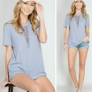 Tops - Lace up basic tee