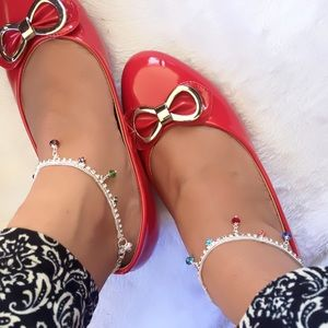 Jewelry - Silver and colorful rhinestones anklets