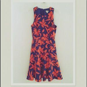 J.Crew Navy & Orange Floral Fit & Flare Dress