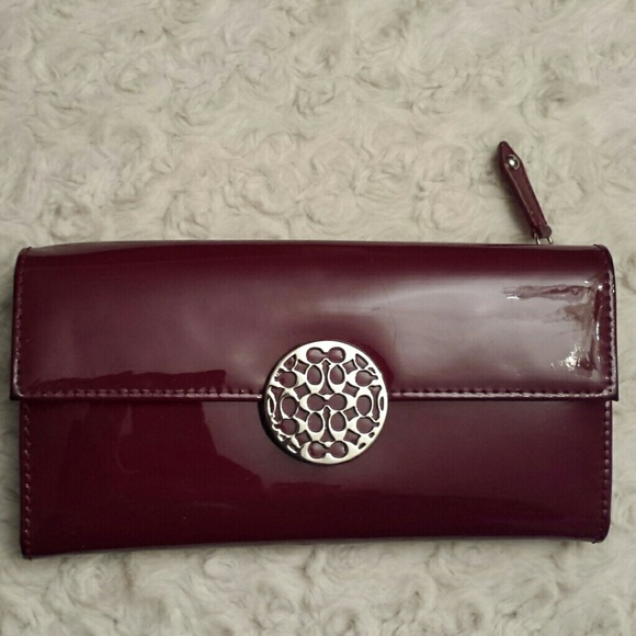 Coach Coach Alexandra Merlot Patent Leather Wallet From