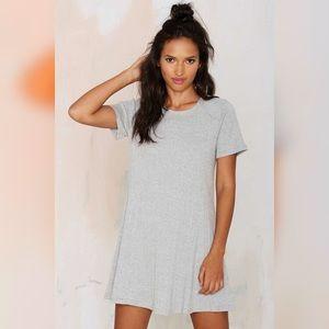 Heather Grey Ribbed T-Shirt Dress