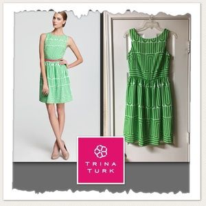 Trina Turk Green & White Dress