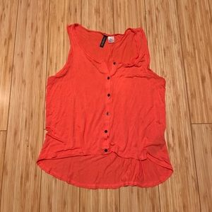 Divided Tops - Orange High Low Buttoned Sleeveless Top