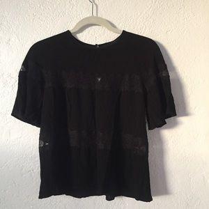 Zara Black Lace Detail Top