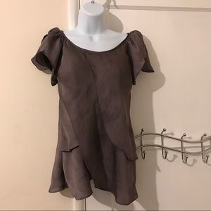Violet & Claire Tops - Violet and Claire ruffled bronze shirt